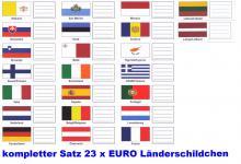 1 x KOBRA FEL Länderschildchen mit farbigen Flaggen komplett 23 Stück Andorra - Zypern passend zu den Münzblättern - Münzhüllen FE24