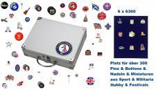 SAFE 246 - 6360 ALU Sammelkoffer SMART Grossbritannien / Great Britain / United Kingdom / England 6 Tableaus 6360 Für bis zu 300 Pins Button Anstecknadeln aus Politik - Hobby - Sport - Heimat - Pfadfinder - Freizeit - Fussball - Festivals