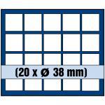 1 x SAFE 6338 SP Tableaus Einsätze SMART 20 eckigen Fächern 38 mm 10 - 20 Euro DM Mark DDR in Münzkapseln
