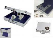 SAFE 548 - 176 ALU Münzkoffer Premium Universal World Münzen mit 3D Plakette für bis zu 220 Münzrähmchen Octo Quadrum Carree Münzkapseln