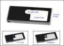 SAFE 4653 Hobby Taschenlupe Lupe Lampe 5 in 1 3x 10x fache Verg.+ LED Weißlicht + UV + Taschenlampe + Etui + Batterien
