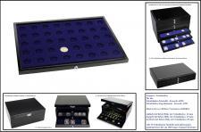 1 x SAFE 5868-1 Schwarze Schubladen mit blauer Einlage 40 runde Fächer 26 mm für die Kassetten 6590 & 6591 Ideal für 2 Euro Gedenkmünzen Münzen & Münzkapseln bis 20 mm