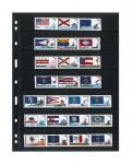 5 x LINDNER 077 UNIPLATE Blätter, schwarz 7 Streifen / Taschen 33 x 194 mm Für Briefmarken