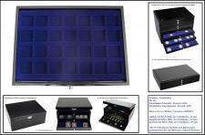 1 x SAFE 5904-1 Schwarze Schubladen einfach tief 12 mm mit blauen Tableaus 28 eckige Fächer 40 mm Ideal für Kanana Maple Leaf & Münzkapseln bis 34 mm