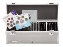 LINDNER 2030 Alu Koffer für quadratische EURO KMS Kursmünzensätze Sets