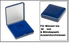 Lindner 2029-030 Blaues Kunststoff Münzetui mit blauer Veloureinlage Für Münzen / Münzkapseln bis 30 mm