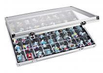 Lindner 4890-45 ALU Sammelvitrinen Vitrinen Setzkasten mit 45 Fächern 36x49 mm Ideal für Ü Eier Figuren