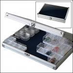 SAFE 5618 ALU Sammelvitrinen Vitrinen Compact mit blauer Samteinlage für SAFE Schwebedosen 4530 & 4531