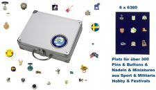 SAFE 248 - 6360 ALU Sammelkoffer SMART Schweden / Sweden / Sverige 6 Tableaus 6360 Für bis zu 300 Pins Button Anstecknadeln aus Politik - Hobby - Sport - Heimat - Pfadfinder - Freizeit - Fussball - Festivals