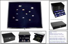 SAFE 5659-3 Schwarze Schubladen dreifach tief 49 mm blaue Einlage für 36 Ringe aller Art zum stecken