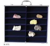 SAFE 5775 Alu Sammelvitrinen Vitrinen Setzkasten MAXI mit 12 Fächer in blau mit glasklarem Sichtfenster Für Mineralien Fossilien Kristalle Opale
