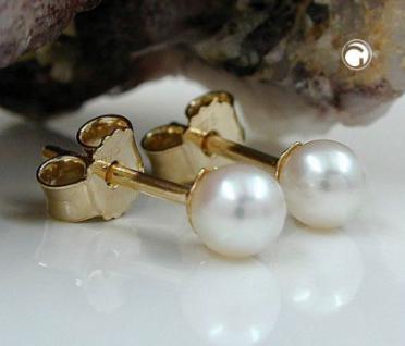 SWZ Perlen Stecker Gold 375 mit echter SWZ Perle 4, 00 mm