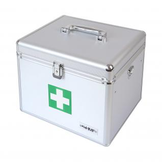 HMF 14702-09 Medizinkoffer, Erste Hilfe Koffer, Aluminium, Arzneikoffer, 30 x 25 x 25 cm, silber