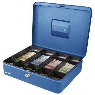 HMF 10019-05 Geldkassette Münzeinsatz Scheinfächer, 30 x 24 x 9 cm, blau