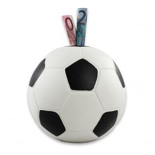 HMF 4790-01 Spardose Fußball Lederoptik, 15 cm, weiß