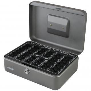 HMF 208-09 Geldkassette Euro-Münzzählbrett, 25 x 18 x 9 cm, silber