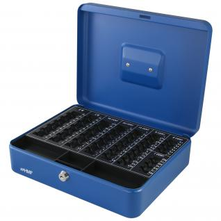 HMF 108-05 Geldkassette Euro-Münzzählbrett, 30 x 24 x 9 cm, blau