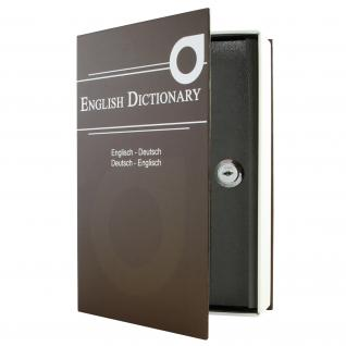 HMF 309-19 Buchtresor English Dictionary, Buchsafe, 23, 5 x 15, 5 x 5, 5 cm, braun