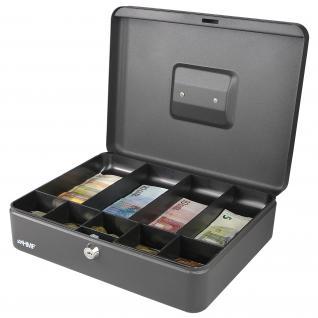 HMF 10019-02 Geldkassette Münzeinsatz Scheinfächer, 30 x 24 x 9 cm schwarz