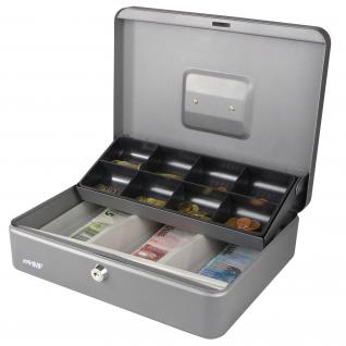 HMF 15130-09 Geldkassette Marktkassette, 30 x 24 x 9 cm, silber
