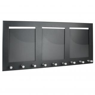 HMF 10850-02 Schlüsselbrett 3 Fotorahmen Hochformat, 9 Haken, 44 x 20 x 4, 3 cm, schwarz - Vorschau 2