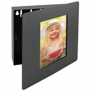 HMF 1050-02 Schlüsselkasten Fotorahmen 5 Haken, 22 x 20 x 5 cm, schwarz
