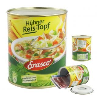Dosensafe Dosentresor Geldversteck Erasco Hühner Reistopf
