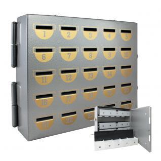 HMF 10525-09 Sparschrank 25 Sparfächer, 23 x 29 x 7 cm, silber