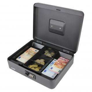 HMF 10017-02 Geldkassette Zahlenkombinationsschloss, 30 x 24 x 9 cm, schwarz