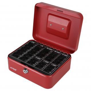 HMF 308-03 Geldkassette Euro-Münzzählbrett, 20 x 16 x 9 cm, rot