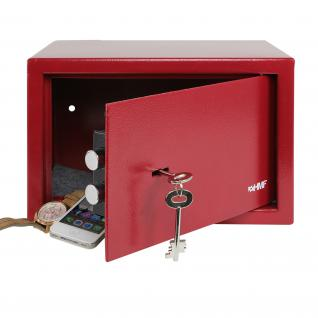 HMF 49200-03 Möbeltresor Doppelbartschloss, 31 x 20 x 20 cm, Rot