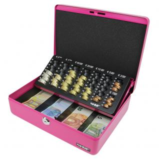 HMF 10015-15 Geldkassette Euro-Münzzählbrett, 30 x 24 x 9 cm, pink