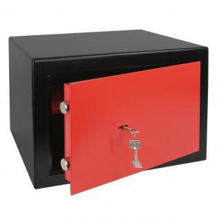 HMF 43100-0203 Möbeltresor Safe Doppelbartschloss, Sicherheitsstufe B, VDMA 24992, 42 x 30 x 38 cm, Tresor, Schwarz Rot