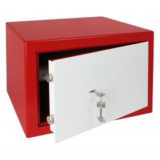 HMF 43100-0301 Möbeltresor Safe Doppelbartschloss, Sicherheitsstufe B, VDMA 24992, 42 x 30 x 38 cm, Tresor, Rot Weiß