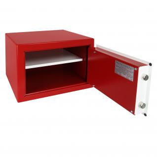 HMF 43100-0301 Möbeltresor Safe Doppelbartschloss, Sicherheitsstufe B, VDMA 24992, 42 x 30 x 38 cm, Tresor, Rot Weiß - Vorschau 3