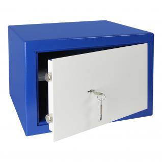 HMF 43100-0501 Möbeltresor Safe Doppelbartschloss, Sicherheitsstufe B, VDMA 24992, 42 x 30 x 38 cm, Tresor, Blau Weiß