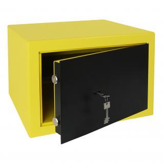 HMF 43100-1702 Möbeltresor Safe Doppelbartschloss, Sicherheitsstufe B, VDMA 24992, 42 x 30 x 38 cm, Tresor, Gelb Schwarz
