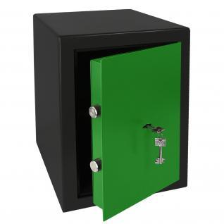 HMF 43200-0206 Möbeltresor Safe Doppelbartschloss, Sicherheitsstufe B, VDMA 24992, 30 x 42 x 38 cm, Tresor, Schwarz Grün