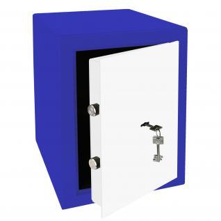 HMF 43200-0501 Möbeltresor Safe Doppelbartschloss, Sicherheitsstufe B, VDMA 24992, 30 x 42 x 38 cm, Tresor, Blau Weiß