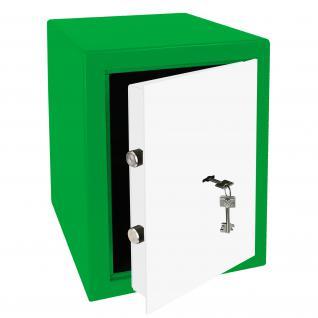 HMF 43200-0601 Möbeltresor Safe Doppelbartschloss, Sicherheitsstufe B, VDMA 24992, 30 x 42 x 38 cm, Tresor, Grün Weiß