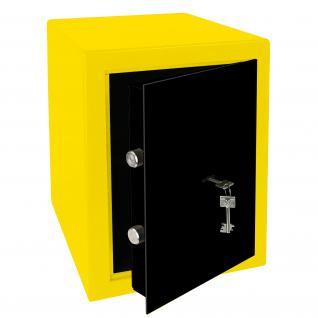 HMF 43200-1702 Möbeltresor Safe Doppelbartschloss, Sicherheitsstufe B, VDMA 24992, 30 x 42 x 38 cm, Tresor, Gelb Schwarz