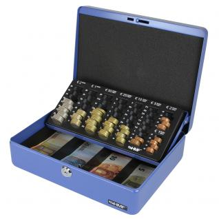 HMF 10015-05 Geldkassette Euro-Münzzählbrett, 30 x 24 x 9 cm, blau
