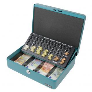 HMF 10015-24 Geldkassette Euro-Münzzählbrett, 30 x 24 x 9 cm, petrol