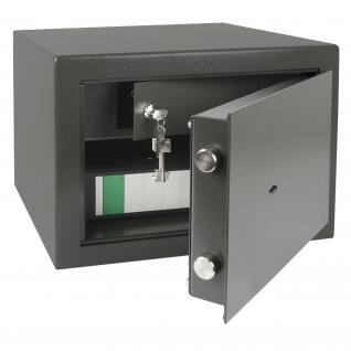 HMF 43300-1111 Tresor Safe Wertschutschrank Doppelbartschloss, abschließbares Innenfach, 42 x 30 x 38 cm, Anthrazit