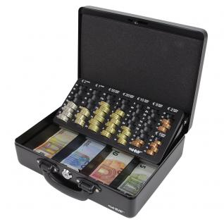 HMF 10026-02 Geldkassette 2 Tragegriffe, Geldzählkassette, Münzzählbrett, 30 x 24 x 9 cm, Schwarz