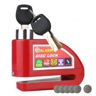 HMF 3510-03 Motorradschloss, Bremsscheibenschloss, Alarmfunktion, 110 db, 9 x 7 x 3, 5 cm, rot