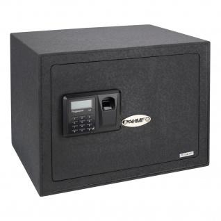 HMF 49123 Möbeltresor Elektronikschloss, Fingerabdruckscan und Schlüsselschloss, 38 x 30 x 30 cm