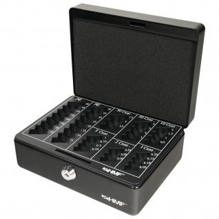 HMF 308-02 Geldkassette Euro-Münzzählbrett, 20 x 16 x 9 cm, schwarz