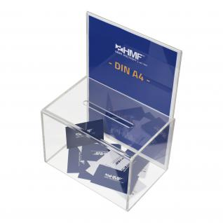 HMF 46916 Spendenbox Acryl Din A4 Blatteinschub, 22 x 15 x 15 cm