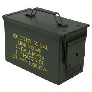HMF 70011 Munitionskoffer, US Ammo Box, Metallkiste, 30 x 19 x 15, 5 cm, grün